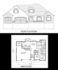 2173 sq ft 3 bedroom rambler with side load 3 car garage for Rambler house plans with 3 car garage