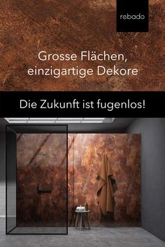 Our look RUST Gloss from the rebado PERLUNO collection. The most built-up trend Material Corten steel, now as high-quality rust patina for your dream bathroom. Enjoy the perfect combination of easy-care RAW look! Bad Inspiration, Interior Design Inspiration, Bathroom Interior Design, Living Room Interior, Lounge Design, Corten Steel, Dream House Exterior, New House Plans, Beautiful Hotels