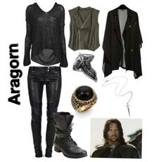 """lord of the rings inspired outfit ~ aragorn ~This would be a good excuse to buy his ring that I've wanted for years now haha.""                     Meeerry?? - Mia M."