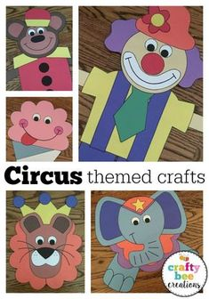 Adorable circus themed craft patterns that you can download and print from home. Perfect size for little hands to learn how to cut and glue! Preschool Circus, Circus Activities, Craft Activities, Preschool Crafts, Kid Crafts, Preschool Themes, Color Activities, Preschool Classroom, Holiday Activities