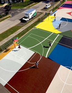 Abstract painter William LaChance designs St Louis basketball court for Project Backboard Landscape Architecture, Landscape Design, Architecture Design, St Louis, Public Space Design, Public Spaces, Sport Park, Playground Design, Parking Design