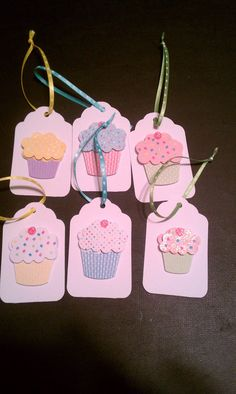 DIY - Cup cake tags made from card stock and scrapbook paper.