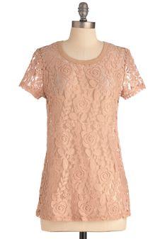 Rosé Garden Top   Mod Retro Vintage Short Sleeve Shirts   ModCloth.com