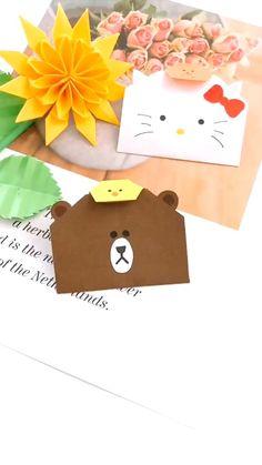 Origami video. Easy. . Bear wallet.  #diy #origami #fashion #awesome #hamdmade #art Diy Crafts Hacks, Diy Crafts For Gifts, Diy Arts And Crafts, Diy Craft Projects, Paper Crafts Origami, Paper Crafts For Kids, Easy Crafts For Kids, Instruções Origami, Origami Wallet