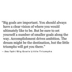 big goals are important. you should always have a clear vision of where you would ultimately like to be, but be sure to set yourself a number of smaller goals along the way. accomplishment drives ambition. the dream might be the destination, but the little triumphs will get you there. - Motivational Quotes