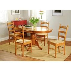 Simple Living Oak Finish 5-piece Ladderback Dining Set