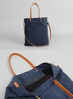 Shoulder Bags – Tasche ELIN // dunkelblau – a unique product by MINUK on DaWanda