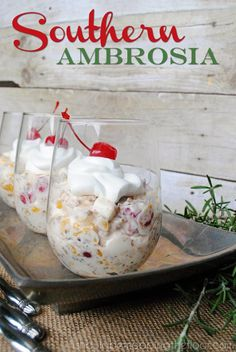 Southern Ambrosia Recipe | The perfect fruit salad for your holiday table... a part of a virtual progressive dinner with 10 other recipes.
