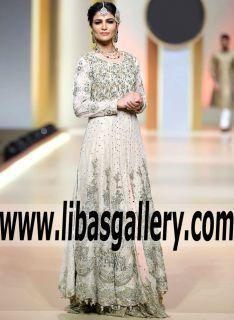 Have you been searching for a dress that will look good on all of your bridesmaids? This a-line bridesmaids dress will look flattering on all of your favorite girls owing to it timeless silhouette!NEW Marvelous Off-White Asclepia Bridal Anarkali Style Dress with Gorgeous Lehenga Skirt for Reception and Special Occasions -  #fashion #white #bridesmaiddress #love #wedding #bridal www.libasgallery.com #shoppingonline #UK #USA #SaudiArabia #Dubai #Canada #Australia #Anarkalioutfit #RizwanAhmed