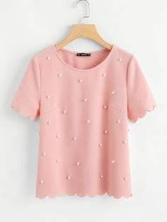 Online shopping for Scallop Trim Pearl Embellished Textured Top from a great selection of women's fashion clothing & more at MakeMeChic. Girls Fashion Clothes, Fashion Dresses, Clothes For Women, Dress Outfits, Casual Outfits, Cute Outfits, Dress Clothes, Plain Tops, Mode Streetwear
