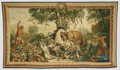 Tapestry: Le Cheval rayé from Les Anciennes Indes Series; Woven at Gobelins Manufactory (French, founded 1662 - present), after a cartoon painted by Albert Eckhout (Dutch, about 1610 - 1665), and Frans Post (Dutch, 1612 - 1680), et al; Paris, France; about 1692 - 1730; Wool and silk; modern cotton lining; 330.2 x 574 cm (130 x 226 in.); 92.DD.21