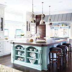 Robin's-egg blue cottage kitchen
