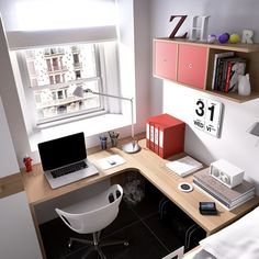 30 Beautiful Home Office Design Ideas For Small Spaces. Don't think you have extra space for the home office? A little creativity (and maybe elbow fat) is all that is needed to carve out more space. Mesa Home Office, Home Office Space, Home Office Desks, Office Furniture, Furniture Design, Apartment Office, Office Workspace, Furniture Ideas, Home Office Setup