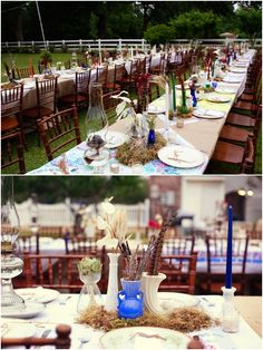 Long tables, no need for chair decor. Love the mix of feathers, burlap and roses!