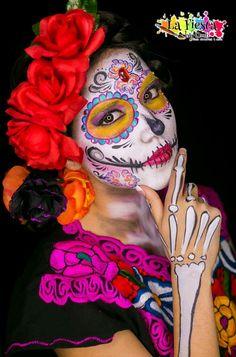 Catrina, sugar skull, halloween, dia de muertos, la fiesta by omi #omitrad  Face painting