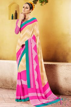 Beige and Fuschia Pink Faux Georgette Casual Saree