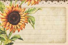 Lilac & Lavender: Light-enchanted Sunflower lined paper aditya Sunflowers And Daisies, Sunflower Cards, Images Vintage, Free Graphics, Note Paper, Scrapbook Paper, Scrapbooking, Printable Paper, Card Tags