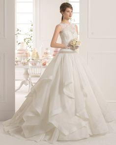 Fabolous Ball Gown Chapel Train Bateau Neckline Cascading Ruffles 2015 Wedding Dress