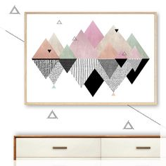 geometric mountain reflections art print, poster, scandi, modern, minimalist, mountains, pink, pastel, black, pattern, floating, wall