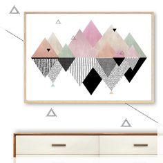 geometric mountain reflections art print, poster, scandi, modern, minimalist, mountains, pink, pastel, black, pattern, floating, wall