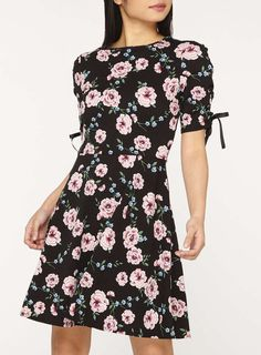 Womens Petite Black Floral Print Fit and Flare Dress- Black