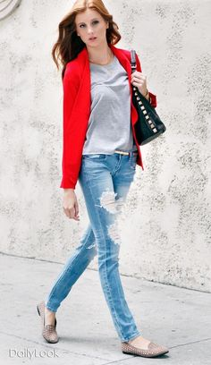 Red blazer pale denim nude flat slouchy tee