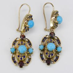 Antique Victorian 14K Yellow Gold Turquoise Garnet by GalaxyGems,