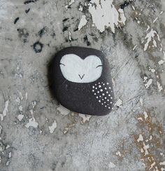Tiny Flat Beach Slate Owl