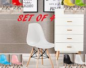 EAMES DSW Style Chair design Modified (Set of 4) / chaise DSW design scandinave Dining Chair or Office Chair