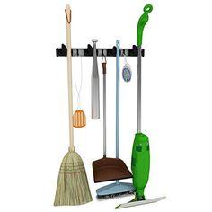 Broom Holder 5 Hooks Broom Mop Rake Hangers Wall Mount Storage Organizer Rack