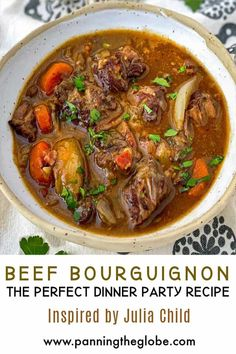 This Beef Bourguignon is adapted from Julia Child's recipe and it's the absolute BEST, with extremely tender beef and supremely rich red wine sauce, a perfect dinner party dish that you can prep ahead. Everyone needs a great Beef Bourguignon recipe in their repertoire! #BestStew #BeefBourguignon #DinnerParty #StewRecipe Bourguignon Recipe, Dinner Party Recipes, Beef Dishes, Kids Meals, Wine Sauce, Good Food, Stuffed Peppers, Red Wine, Comfort Foods