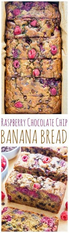 Healthy and Supremely moist Banana Bread studded with fresh raspberries and chocolate chips.