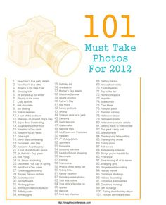 101 Must Take Photos...this will be helpful for 365