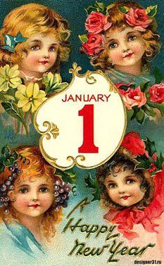 Vintage New Year Postcard Vintage Happy New Year, New Year Postcard, New Year Greetings, Collage Sheet, Christmas Bulbs, The Creator, Holiday Decor, Art, Art Background