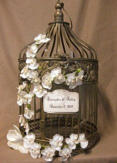 Gold Bird Cage Wedding Card Box Vintage Style with Orchid Vine / Wedding Card Holder Birdcage Gold / Wedding Birdcage