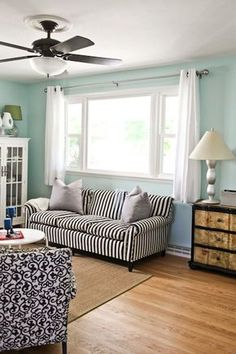 Short Curtains. Living rm window behind chaise?