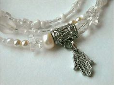 Crystal Quartz Hand Of Fatima Waist Beads by WrapandSoul on Etsy, $20.00