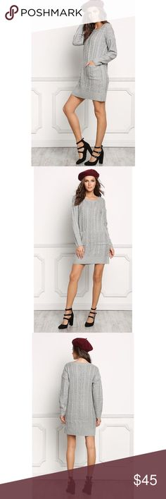 Grey Cable Knit Dress CABLE KNIT DRESS WITH FRONT POCKET 65% ACRYLIC 20% POLYESTER 15% NYLON. Dresses