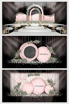 Pink minimalist flower wedding renderings#pikbest#decors-models Reception Stage Decor, Wedding Reception Backdrop, Wedding Stage Decorations, Backdrop Decorations, Wedding Aisles, Wedding Backdrops, Backdrop Ideas, Wedding Ceremonies, Ceremony Backdrop
