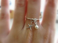 Charm ring Sterling silver ring Starfish ring Dainty by Lalinne, $22.00