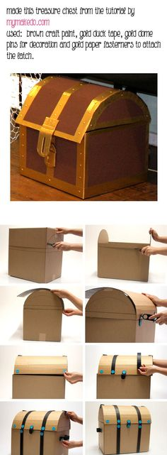 "DIY Cardboard pirate treasure chest – perfect to use for ""treasure"" or organization in the pirate classroom! DIY Cardboard pirate treasure chest – perfect to use for ""treasure"" or organization in the pirate classroom! Deco Pirate, Pirate Day, Pirate Birthday, Pirate Theme, Mermaid Birthday, Boy Birthday, Birthday Parties, The Pirate, Pirate Halloween"