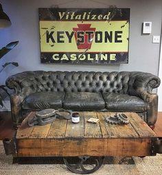 Man Cave Furniture, Furniture Design, Cheap Furniture, Vintage Industrial Lighting, Home Coffee Stations, Man Cave Home Bar, Porcelain Signs, Man Cave Garage, Man Room