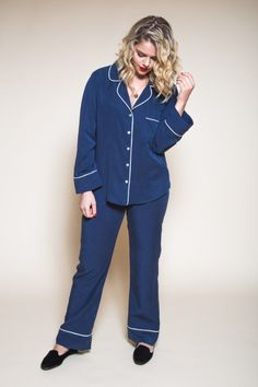 A sewing pattern designed for chic lounging, the Carolyn Pajamas are classically tailored with a modern, figure flattering cut. Features pajama pants pattern, shorts and top, available in print format. Silk Pajamas, Pyjamas, Pajama Pants Pattern, Matching Pajamas, Sewing Blogs, Sewing Tutorials, Pajama Top, Silk Crepe, Top Pattern