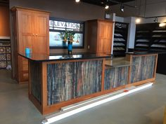Formica 180fx Petrified wood reception desk Reception Desk Design, Cheap Countertops, Dental Office Design, Petrified Wood, Clinic, Cabinets, Kitchens, New Homes, Storage