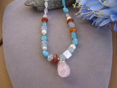 Gem Stone Necklace Aquamarine Necklace Turquoise by purplesage333