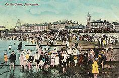 Postcard PU 1905 - 1914 On the Sands Morecambe beach promenade clock tower WES