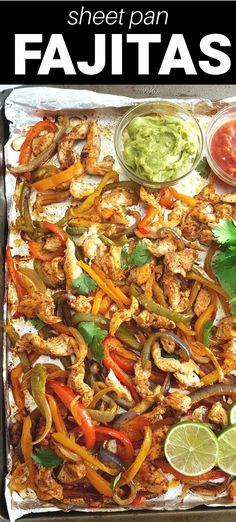 Sheet pan chicken fajitas are a one pan wonder that is cooked in the oven for a quick and easy weeknight dinner that everyone will love! They are so versatile with the ability to throw the chicken fajitas in a tortilla, on a salad, in a taco, or in lettuce wraps. Pork Recipes For Dinner, Mexican Food Recipes, Chicken Recipes, Mexican Dishes, Fast Easy Meals, Easy Meal Prep, Easy Recipes, Healthy Recipes, Top Recipes