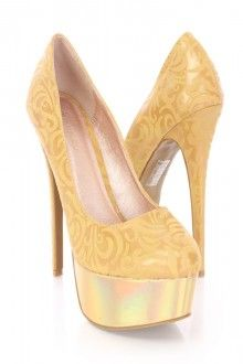 Gold Pattern Pump High Heels Faux Leather