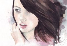 for sale original watercolor painting / beautiful girl  / art by HelgaMcL
