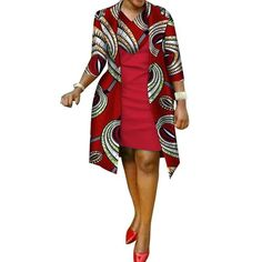 afrikanische frauen New African Print Dress and Suit Coat for Women Bazin Riche Cotton 2 Pieces Sets Traditional African Women Clothes Latest African Fashion Dresses, African Dresses For Women, African Print Dresses, African Print Fashion, African Attire, African Wear, African Women, Ankara Fashion, Africa Fashion
